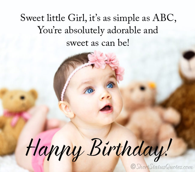 Magnificent 150 Best Birthday Status Wishes Messages For Baby Girl Personalised Birthday Cards Veneteletsinfo
