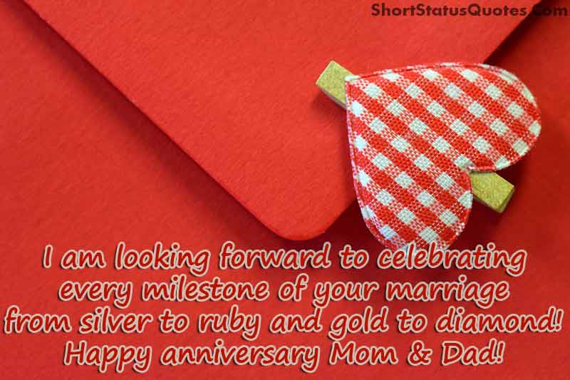 Anniversary Status for Mom and Dad - Parents Anniversary Status